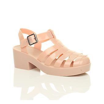 Womens Ajvani bas milieu bloc talon caoutchouc gelée gladiator découper chaussures sandales rétro