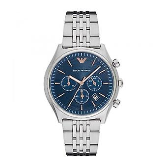 Emporio Armani Mens Gents Wrist Watch Silver Stainless Steel Strap Blue Dial AR1974