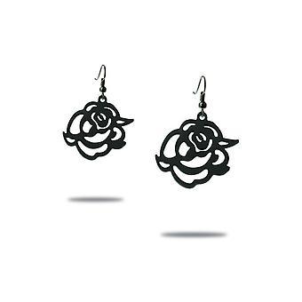 Boucles d'Oreilles Pendantes Roses en Silicone Noir