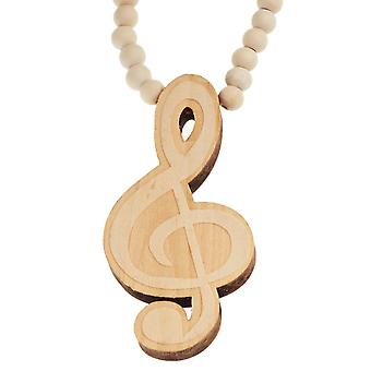 Wood style Bead Necklace - beige MUSIC KEY