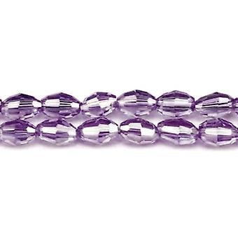 Strand 70+ Violet Czech Crystal Glass 4 x 6mm AB Faceted Rice Beads GC3576-1