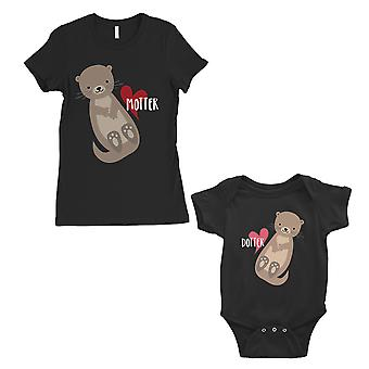 Motter Dotter Mom and Baby Matching Gift T-Shirts Black
