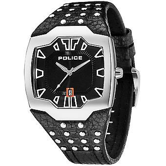 Police mens watch wristwatch leather analog rivets 13634JS/02