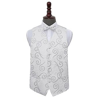 Silver Scroll Wedding Waistcoat & Bow Tie Set