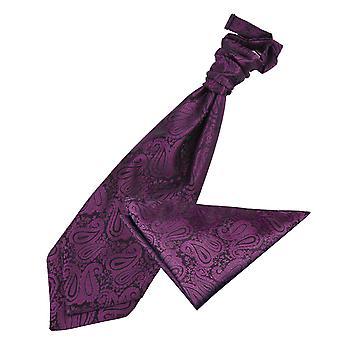 Fioletowy Paisley ślub Cravat & placu kieszeni zestaw