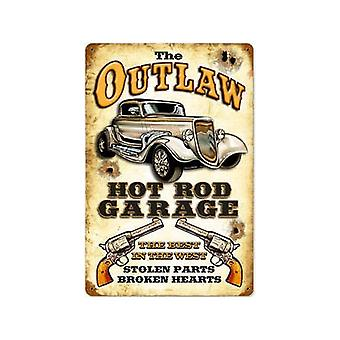 Outlaw Hot Rod Garage Rusted Metal Sign 460Mm X 300Mm