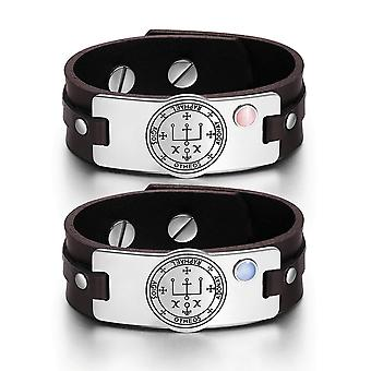 Archangel Raphael Sigil Love Couples Pink Sky Blue Simulated Cat Eye Amulet Brown Leather Bracelets