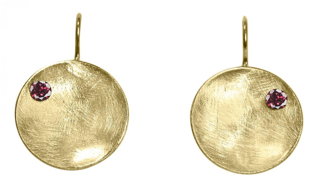 Gemshine - femmes - Ohrbaguee - boucles d'oreilles - 925 argent - Veroret - Schale -  Geometrisch - Design - Granat - rouge - 3 cm