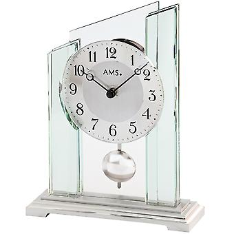 Table clock table clock quartz with pendulum mineral glass casing on metal base