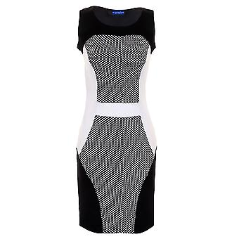 Damen-Polkadot texturierte Kontrast Panels schlank Effekt Womens Bodycon Party Kleid