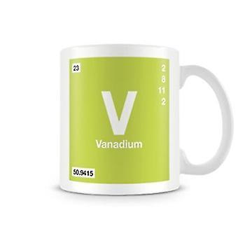 Scientific Printed Mug Featuring Element Symbol 023 V - Vanadium