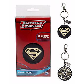 Justice League final trailer Superman logo black gold metal, including mini carabiner.