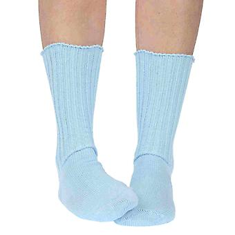 Fremont women's elastic free (soft topped) cotton crew socks in sky blue
