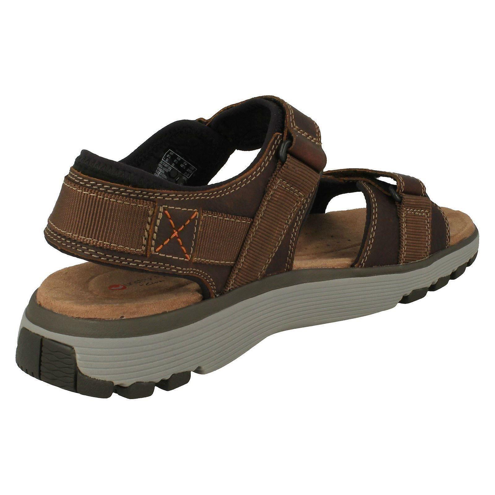 70e7a47606 Mens Clarks Casual Strapped Sandals Un Trek Part - Dark Tan Leather - UK  Size 11G