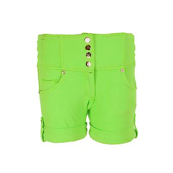 Nya damer hög midja färgad Denim Stretch Shorts varma byxor för kvinnor