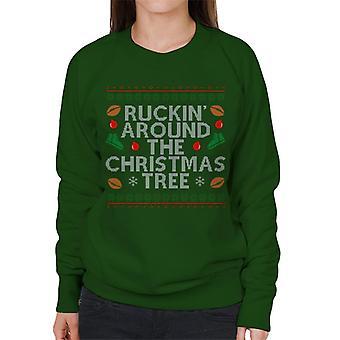 Rugby Ruckin Around The Christmas Tree Women's Sweatshirt