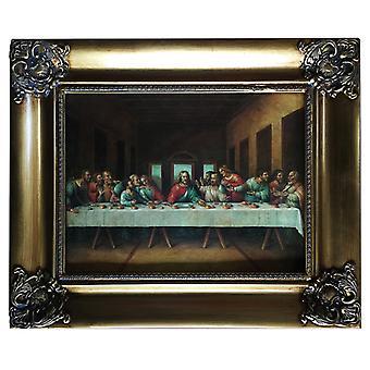 Last supper, Leonardo da Vinci, 30 x 40 cm with frame in gold