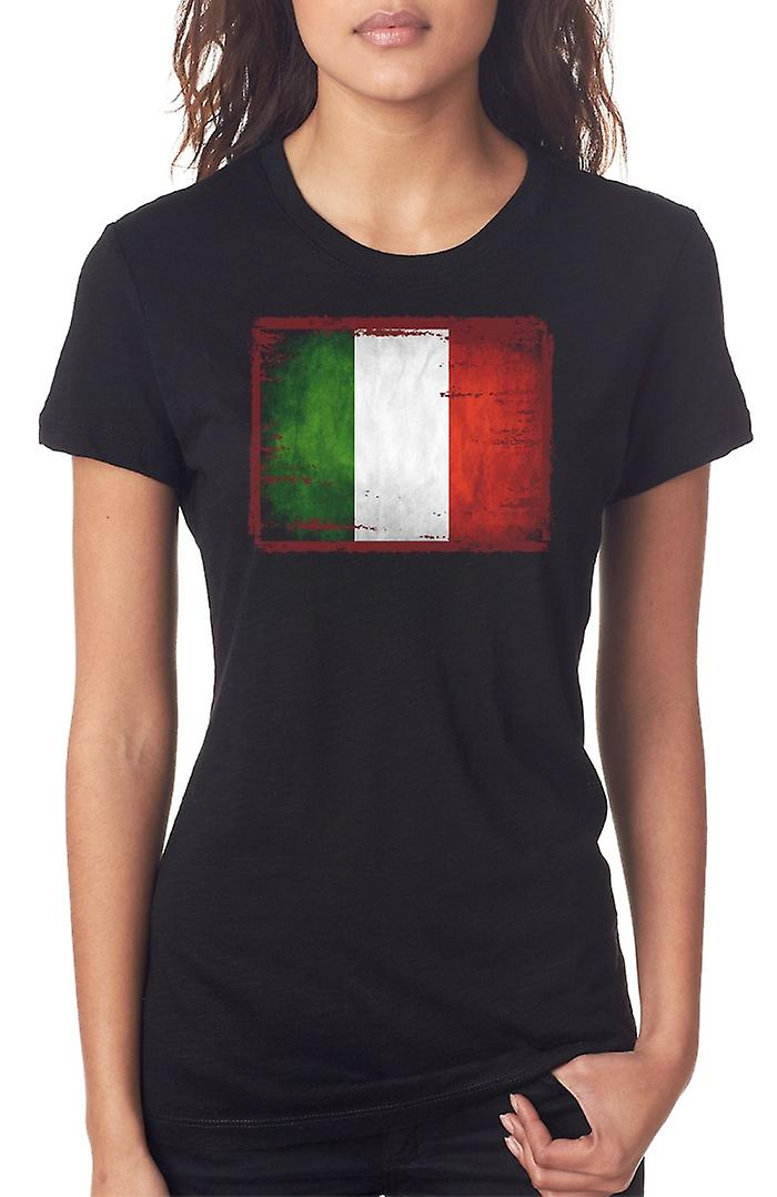 Italian Italy Grunge Flag Ladies T Shirt