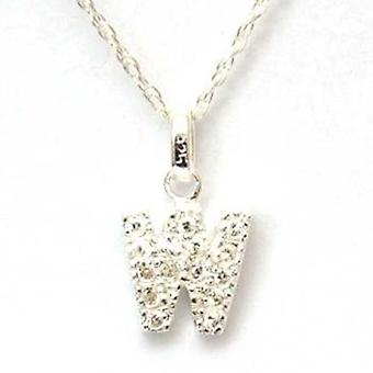 TOC Sterling Silver Clear Rhinestone Set Initial 'W' Pendant Necklace 18