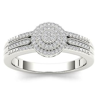 IGI Certified 10k White Gold 0.18 Ct Diamond Cluster Halo Engagement Ring