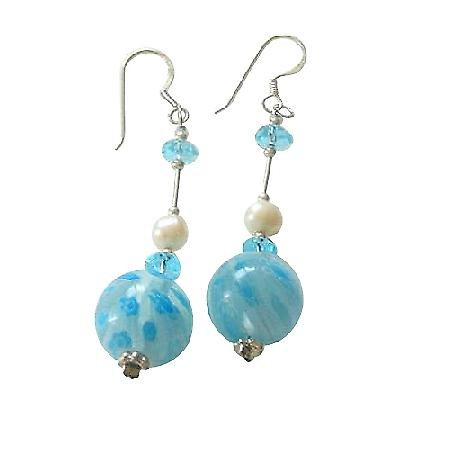 Freshwater Pearl Venetian Glass Bead w/ Spacer Sterling Earrings