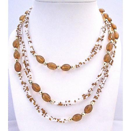 Brown White Beads 2 or 3 Stranded Gold Beads Spacer Long Necklace