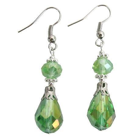 Peridot Teardrop Earrings with Bali Silver Beautiful Gorgeous Earrings