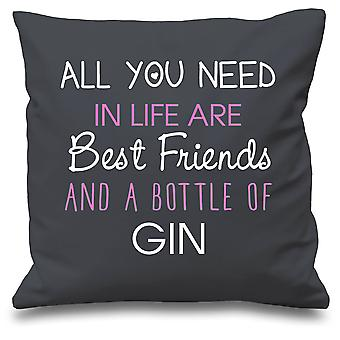 Grey Cushion Cover All You Need In Life Are Best Friends And A Bottle Of Gin 16