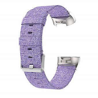 Bracelet compatible with Fitbit Charge 3 in Nylon-Purple
