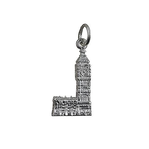 Silver 20x11mm Big Ben Pendant or Charm