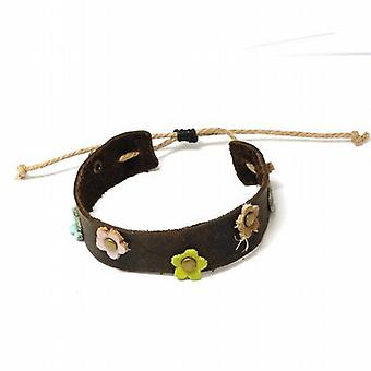 The Olivia Collection Dark Brown Genuine Leather Wristband with Flowers