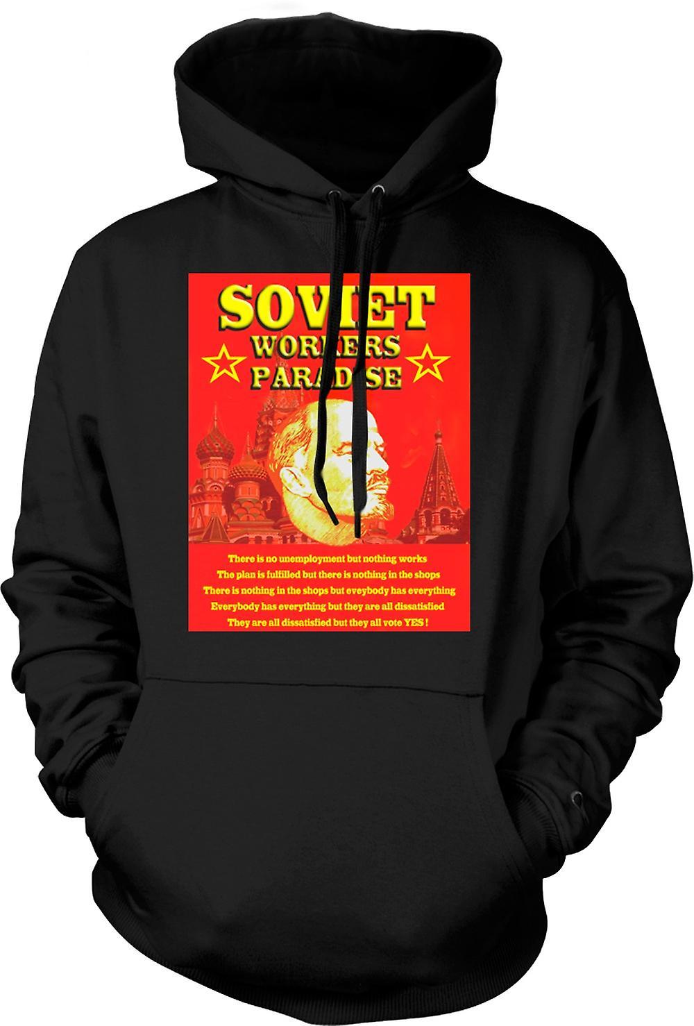 Mens Hoodie - Lenin - Soviet Workers Paradise
