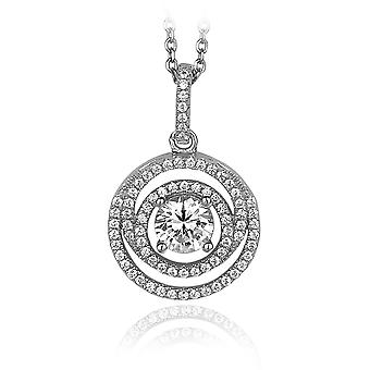 PENDANT WITH CHAIN SOLITAIRE 925 SILVER PAVE ZIRCONIUM