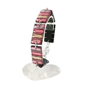 Eternal Collection Calypso Rose Multi Coloured Silvered Resin Bracelet