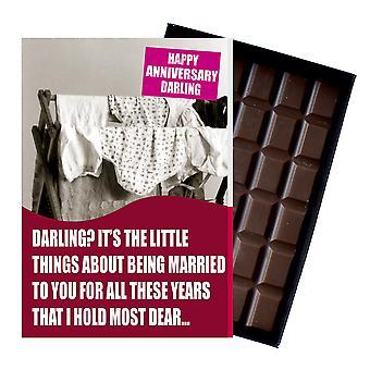 Bröllopsdag present till hustru civil partner boxed choklad gratulationskort present CDL147