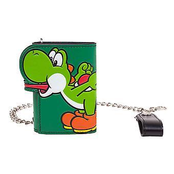 Super Mario Wallet Yoshi Tongue new Official Nintendo Green Tri Fold Chain