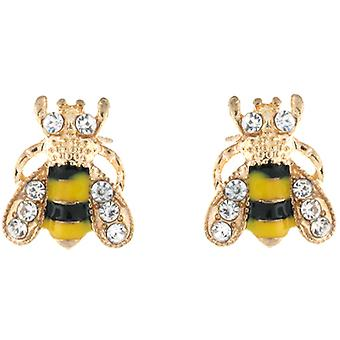 Gold & Yellow & Black Enamel Small Bee Stud Earrings