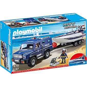 Playmobil Police Car with Boat (Toys , Dolls And Accesories , Miniature Toys , Vehicles)