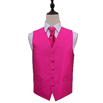 Fuchsia Pink Solid Check Wedding Waistcoat & Cravat Set