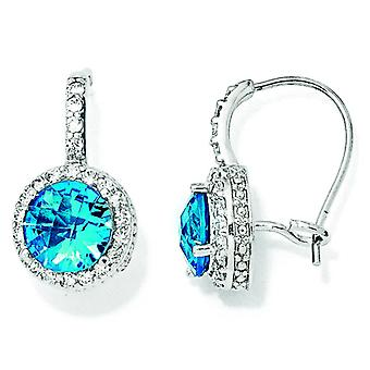 Sterling Silver Checker-cut Sim.Blue Topaz and CZ French Wire Earrings
