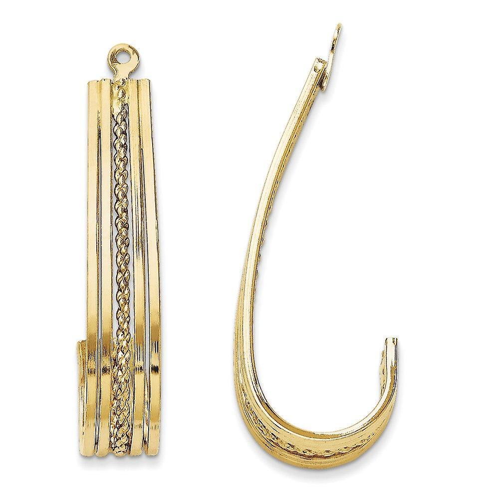 14k jaune or Polished J-Hoop Earrings Jackets - 2.3 Grams