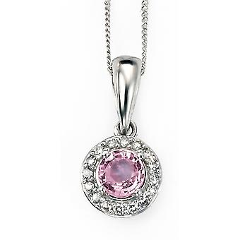 9Ct Gold With Pink Sapphire And Diamond Necklace