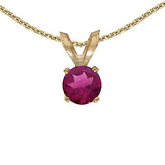 14k Yellow Gold Round Rhodolite Garnet Pendant with 18