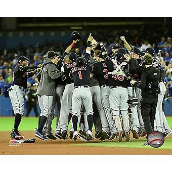 The Cleveland Indians celebrate winning Game 5 of the 2016 American League Championship Series Photo Print (8 x 10)