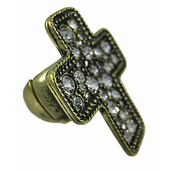 Rhinestone Accented Brass Christian Cross Stretch Ring