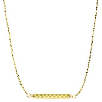 14k Yellow Gold Cylinder Bar Sideways Pendant Necklace, 18