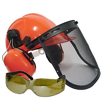 Chainsaw Safety Helmet With Ear Defenders & Mesh Visor Yellow Tint Glasses