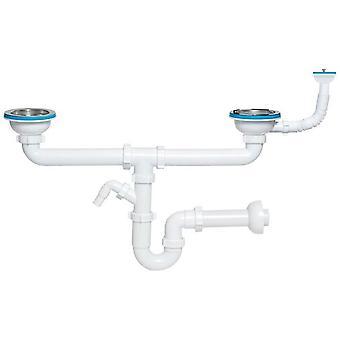 Podwójne Kitchen Sink odpadów P-syfon 115mm okrągłe i prostokątne przepełnienia