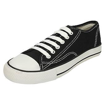 Childrens flekk på lerret blonder sko X0001