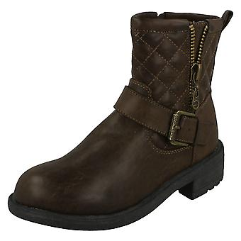 Ladies Spot On Mid Heel Quilted Biker Boots F50705